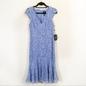 Adrianna Papel Lace Blue Tulip Long Dress 8 10